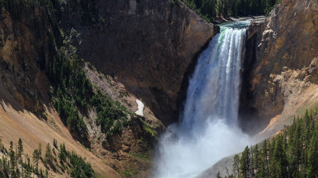 The Yellowstone River Makes A Significant Drop in Elevation, Forming Yellowstone Falls, As It Flows Into The Grand Canyon Of The Yellowstone