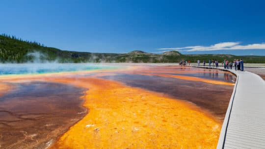 Visitors Stop Along The Wooden Boardwalk To Admire The Vibrant Reds, Greens And Blues Of The Grand Prismatic Spring In Yellowstone National Park