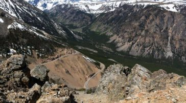 The Beartooth Pass Crosses The Top Of The World At High Elevation Crossing From Yellowstone National Park to Red Lodge Montana