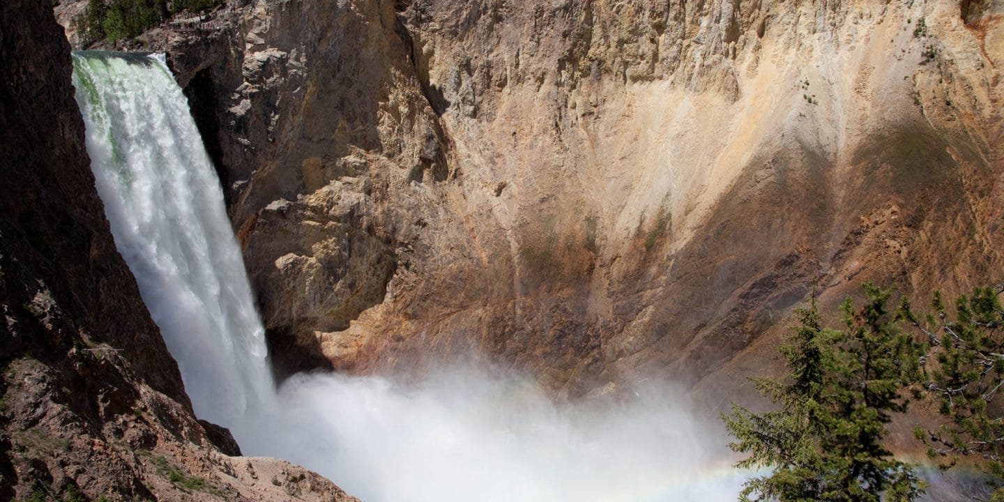 The Lower Falls Of The Yellowstone River Pours Into The Grand Canyon Of The Yellowstone Creating A Rainbow In The Rising Mist